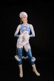 Gzhel utformade bodyartmodellen Royaltyfri Bild