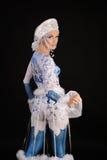 Gzhel utformade den bakåtriktade anseendemodellen för bodyart Royaltyfri Fotografi