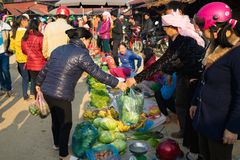 Hà Giang, Vietnam - 14. Februar 2016: Ländlicher lokaler Markt in Dong Van-Bezirk, Hà Giang Die Handelswaren sind fast selbst gem Stockfoto