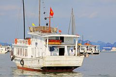 Ha Long Bay Sightseeing Boat, Vietnam UNESCO World Heritage Stock Images