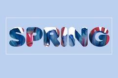 Há um texto das flores na primavera Foto de Stock Royalty Free