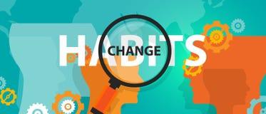 Hábitos cambiantes viejos con el nuevo concepto de análisis del foco ilustración del vector
