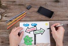 Hábitos velhos - os hábitos novos sinalizam tirado no Livro Branco Foto de Stock