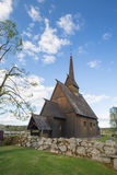 Høyjord梯级教会, Andebu,挪威 免版税库存图片