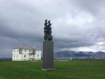 Höfði-Haus in Reykjavik, Island, an einem bewölkten Tag Lizenzfreie Stockbilder