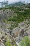 Hängebrà ¼ cke over de Aletsch-Gletsjer, Zwitserland Stock Foto's
