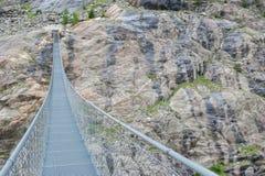 Hängebrà ¼ cke over de Aletsch-Gletsjer, Zwitserland Royalty-vrije Stock Foto