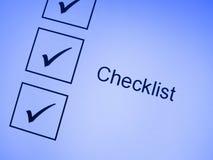 Häckchenmarkierungen auf Checkliste Stockfoto