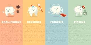 Häfte för muntlig hygien med den gulliga tanden stock illustrationer