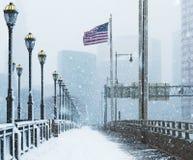 Häftig snöstorm eller `-easter marsch 13 2018 i Hartford Connecticut New England fotografering för bildbyråer