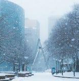 Häftig snöstorm eller `-easter marsch 13 2018 i Hartford Connecticut New England Royaltyfri Bild
