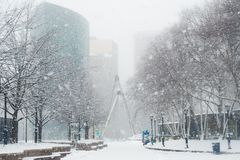 Häftig snöstorm eller `-easter marsch 13 2018 i Hartford Connecticut New England Royaltyfri Foto