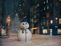 Häftig snöstorm i New York City byggandesnögubbe framförande 3d Arkivfoton
