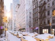 Häftig snöstorm i New York City framförande 3d Arkivbild
