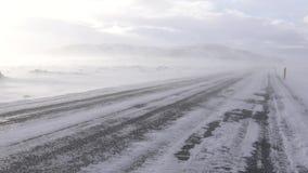 Häftig snöstorm Island, Europa arkivfilmer