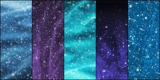 Häftig snöstorm, snöflingor, universum och stjärnor Arkivfoto