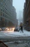 häftig snöstormstad New York Arkivbild