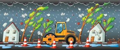 Häftigt regn i staden royaltyfri illustrationer