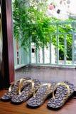 Häftklammermatare på terrassen Arkivbilder