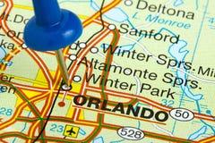 Häftstift i Orlando Florida Map Royaltyfria Bilder