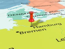 Häftstift på den Hamburg översikten Royaltyfri Foto