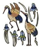 Häger-kran broderi med irisblommor Broderat vektormode stock illustrationer