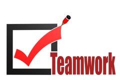 Häkchen mit Teamwork-Wort Stockbilder