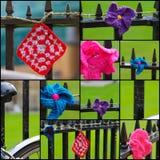 Häkelarbeiten auf Eisen-Zaun Set Collage lizenzfreie stockfotografie