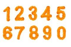 Häkeln Sie Zahlen und Zahlen für das neue Jahr, den Feiertag, lokalisiert auf weißem Hintergrund Lizenzfreies Stockfoto