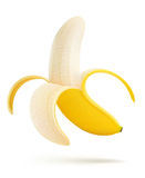Hälfte abgezogene Banane Stockfotos