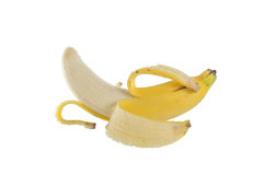 Hälfte abgezogene Banane Lizenzfreies Stockfoto