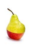 Hälfte-Aple-und-Hälfte-Birne Stockfoto