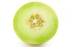 Hälfte der gelben Melonekantalupe lizenzfreies stockbild