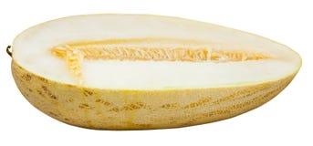 Hälfte der reifen Usbek-russischen Melone lokalisiert auf Weiß Lizenzfreies Stockfoto