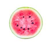 Hälfte der roten saftigen Wassermelone Stockfotos