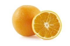 Hälfte von Orange und von der Orange. Stockbilder