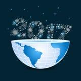 Hälfte von Planetenerde mit 2017 bestanden aus Schneeflocken Weihnachten vektor abbildung