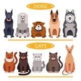 hälften för hundar för bakgrundskatter tystar ned den täta ståenden upp white Tecknad filmvektoruppsättning royaltyfri illustrationer