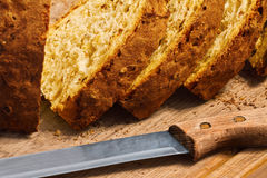 Hälfter av bröd Arkivfoto