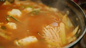 Häll varm soppa från den havs- sleven Autentisk koreansk kokkonst stock video