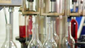 Häll vinet in i flaskor på transportören arkivfilmer