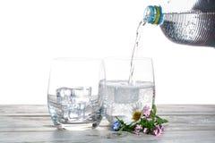 Hälla av mineraliskt drinkvatten för mousserande sodavatten i exponeringsglas med ic arkivfoton