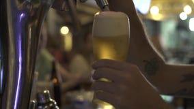 Hällande öl för bartender till exponeringsglas från ölklappet i stångbar Slut upp bryggarehänder som häller lager till exponering lager videofilmer