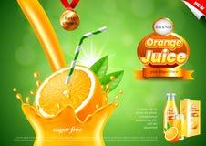 Hällande annonser för orange fruktsaft Realistisk vektorbakgrund stock illustrationer