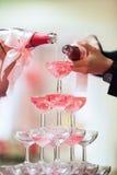 Hällande ceremoni för champagne Arkivfoto