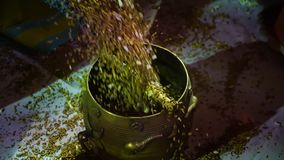 Hällande korn från en urna stock video