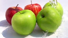 Hällande sötvatten på gräsplanen och de röda äpplena arkivfilmer