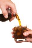 hällande sodavatten för exponeringsglas Arkivbild