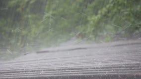 Hällregn med hagel på våren arkivfilmer