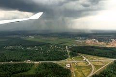 Hällregnsikt från en slätt Arkivfoto